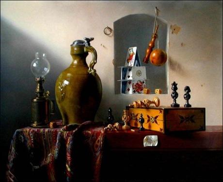 Pierre Raser, Jeu d'échecs, bilboquet, lampe, pichet 1953_thumb